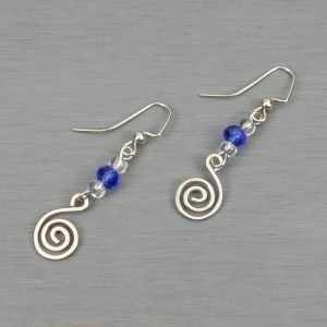 Blue glass accented silver plated spiral earrings