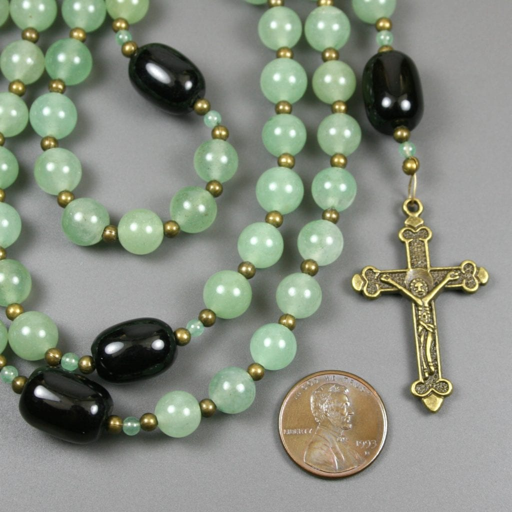 Green aventurine, black agate, and antiqued brass rosary in the Roman Catholic style