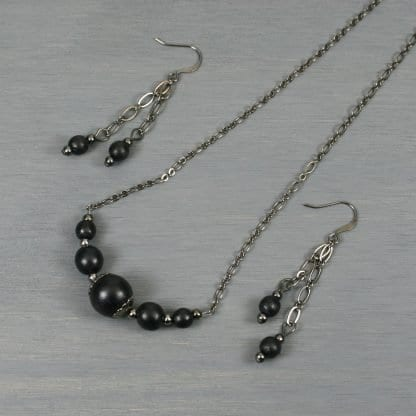 Black wood and gunmetal choker necklace and dangle earring set