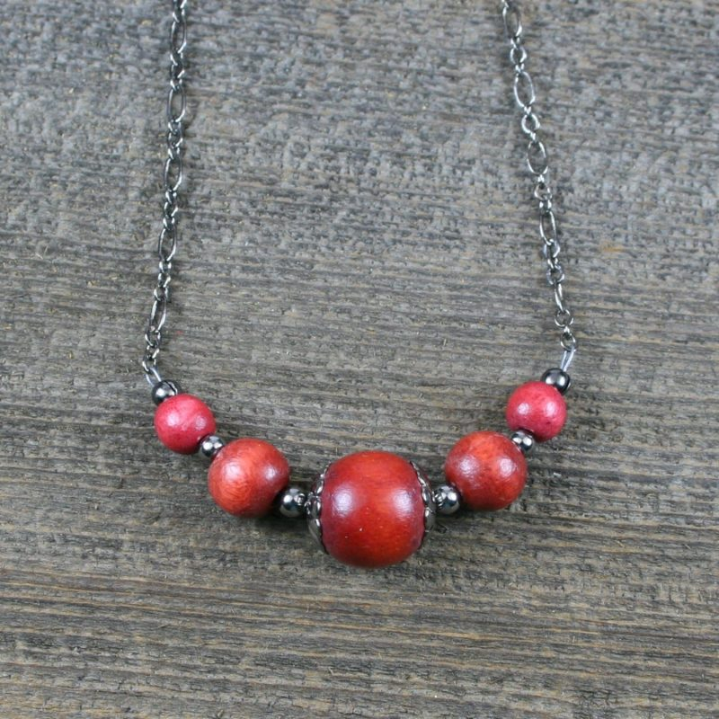 Dark red wood and gunmetal choker necklace