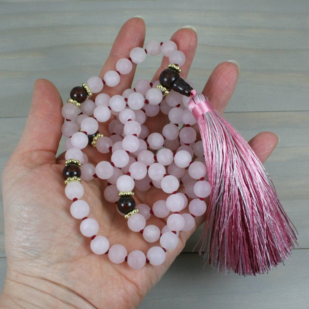 Rose quartz and brecciated jasper hand knotted mala in the Zen style with tassel