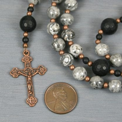 Silver crazy lace agate, black onyx, and antiqued copper rosary in the Roman Catholic style