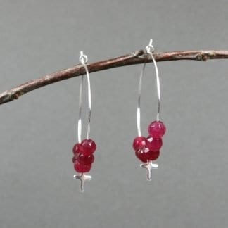 Dark pink faceted agate and tiny silver plated crosses silver plated hoop earrings
