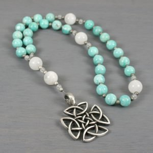 Anglican rosary in amazonite and moonstone with an antiqued pewter square-shaped Celtic cross